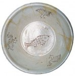 Revolving birds and fish on white porcelain basin from Liao dynasty (dated back 1000 years)