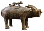 A bronze ox zun (a kind of ancient wine vessel) of the Western Zhou Dynasty unearthed in Qishan County, Shaanxi Province