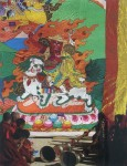Lamas chanting scriptures in front of a Thangka